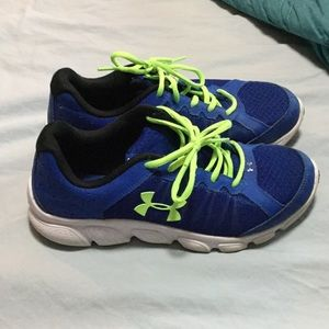 Under Armour Shoes Blue and Neon Yellow Youth 7